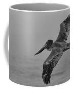 Gliding Pelican In Black And White Coffee Mug