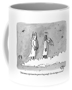 God Is Seen Standing On A Cloud Talking To An Coffee Mug