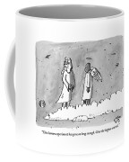 God Is Seen Standing On A Cloud Talking To An Coffee Mug by Farley Katz