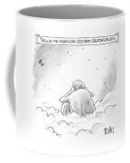 God Sits In A Space Cloud Looking At The Earth Coffee Mug