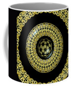 Gold And Black Stained Glass Kaleidoscope Under Glass Coffee Mug