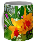 Gold And Red Orchids At Maerim Orchid Farm In Chiang Mai-thailan Coffee Mug