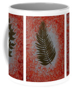 Gold Leaves On Orange Triptych Coffee Mug