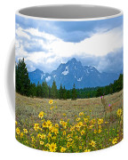 Golden Asters And Tetons From The Road In Grand Teton National Park-wyoming Coffee Mug