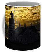 Golden Backlit West Quoddy Head Lighthouse Coffee Mug