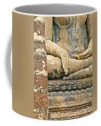 Golden Fingernails On Sitting Buddha At Wat Mahathat In Sukhothai Historical Park-thailand Coffee Mug