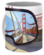 Golden Gate Bridge In Side View Mirror Coffee Mug by Mary Helmreich
