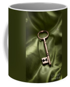 Golden Key On Green Silk  Coffee Mug