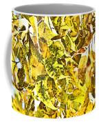 Golden Pecan Leaves Abstract Coffee Mug