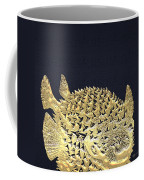 Golden Puffer Fish On Charcoal Black Coffee Mug