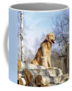 Golden Retriever Dog On Logs Coffee Mug
