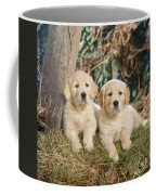 Golden Retriever Puppies In The Woods Coffee Mug