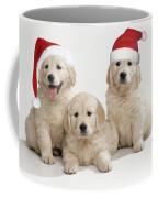 Golden Retriever Puppies With Christmas Coffee Mug