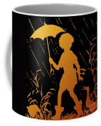 Golden Silhouette Of Child And Geese Walking In The Rain Coffee Mug