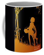 Golden Silhouette Of Child With Basket Walking In The Woods Coffee Mug