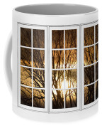 Golden Sun Silhouetted Tree Branches White Window View Coffee Mug