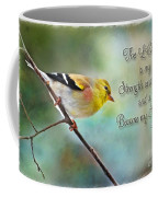 Goldfinch With Rosy Shoulder - Digital Paint And Verse Coffee Mug