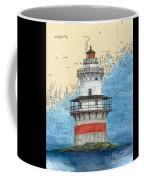 Goose Rocks Lighthouse Me Nautical Chart Peek Art Coffee Mug