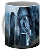 Gothic Surreal Angel In Mourning With Ravens Coffee Mug