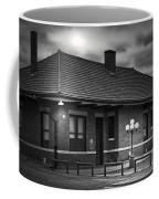 Train Depot At Night - Noir Coffee Mug