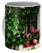 Grapevines And Geraniums Around A Window Coffee Mug