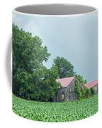 Gray Sky - Red Roofed Barn - Green Fields Coffee Mug