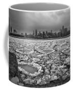 Gray Winter Chicago Skyline Coffee Mug