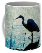 Great Blue Heron Fishing In The Low Lake Waters Coffee Mug