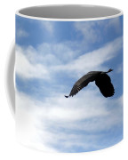 Great Blue Heron Flying Past The Clouds Above Trojan Pond 2 Coffee Mug