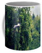 Great Blue Heron Flying Past The Trees Above Trojan Pond 2 Coffee Mug