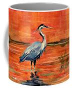 Great Blue Heron In Marsh Coffee Mug