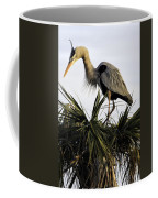 Great Blue Heron On Palm Coffee Mug