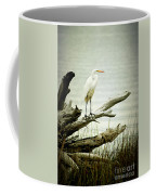 Great Egret On A Fallen Tree Coffee Mug by Joan McCool