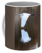 Great Egret Over The Pond Coffee Mug