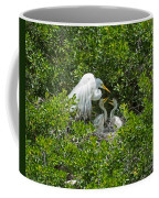Great Egret With Chicks On The Nest Coffee Mug