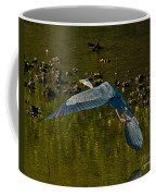 Great Heron Over Oyster Beds Coffee Mug