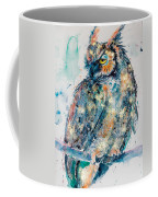 Great Horned Owl In Gold Coffee Mug