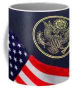 Great Seal Of The United States And American Flag Coffee Mug by Olivier Le Queinec