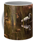 Great White Egret And Mallard Flight Sunrise Reflection Coffee Mug