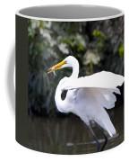 Great White Egret Eating Fish 1 Coffee Mug