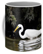 Great White Egret Eating Fish 2 Coffee Mug