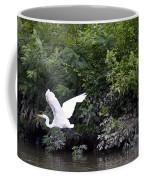 Great White Egret Flying 3 Coffee Mug