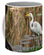 Great White Egret Taking A Stroll Coffee Mug