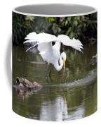 Great White Egret Wingspan And Turtles Coffee Mug