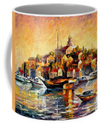 Greek Day - Palette Knife Oil Painting On Canvas By Leonid Afremov Coffee Mug