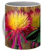 Green Butterfly On Fire Mums Coffee Mug