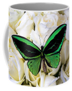 Green Butterfly On White Roses Coffee Mug