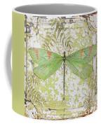 Green Dragonfly On Vintage Tin Coffee Mug