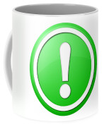 Green Exclamation Point Button Coffee Mug