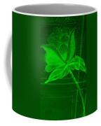 Green Negative Wood Flower Coffee Mug